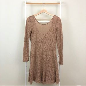 Urban Outfitters Nude Lace Fit and Flare Dress 40